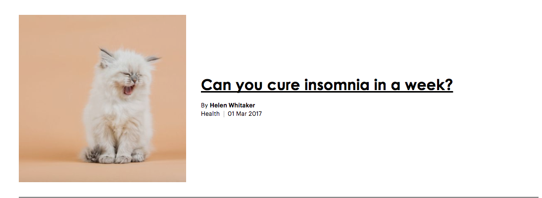 Can you cure insomnia in a week?