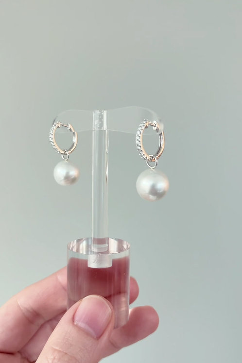 Hoop 2-Way Earrings with South Sea Pearl
