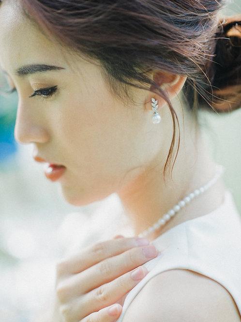 Leaves Earrings with Akoya Pearl