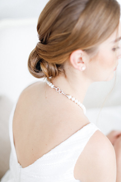 Classic Pearl Necklace with Infinity Clasp