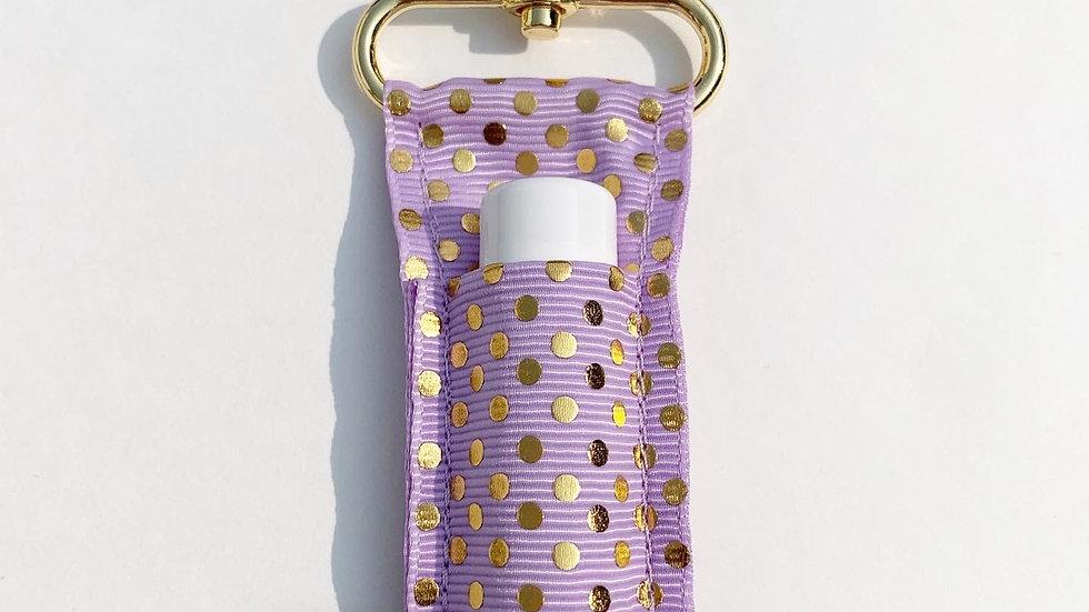 Lavender Gold Dots LippyClip Lip Balm Holder