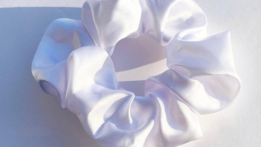 Oversized Satin Scrunchie (White)