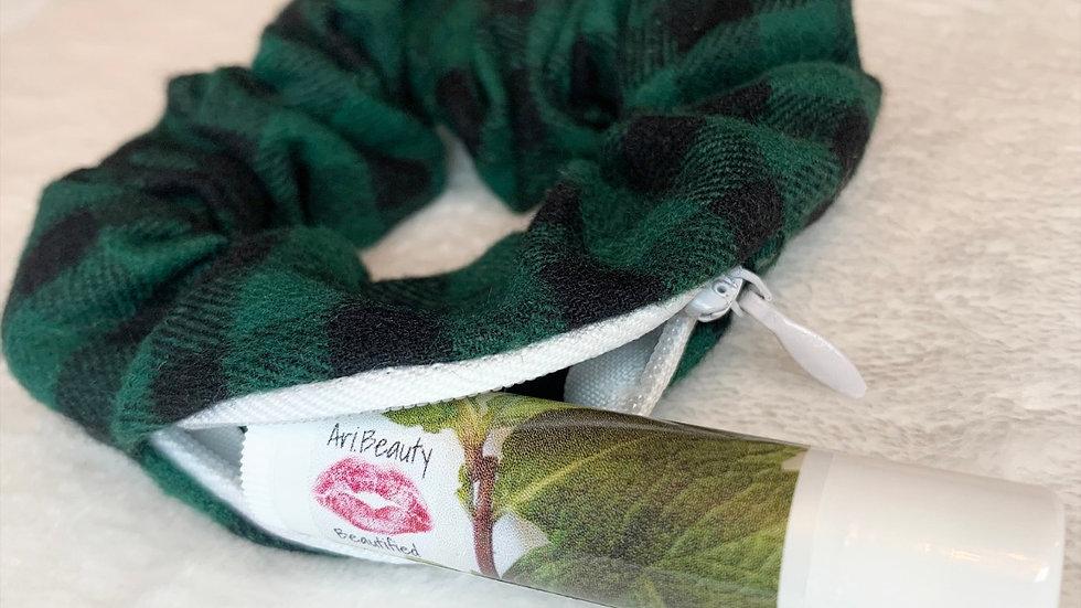 Green and Black Hidden Pocket Scrunchie and Ari.Beauty Honey Peppermint Lip Balm