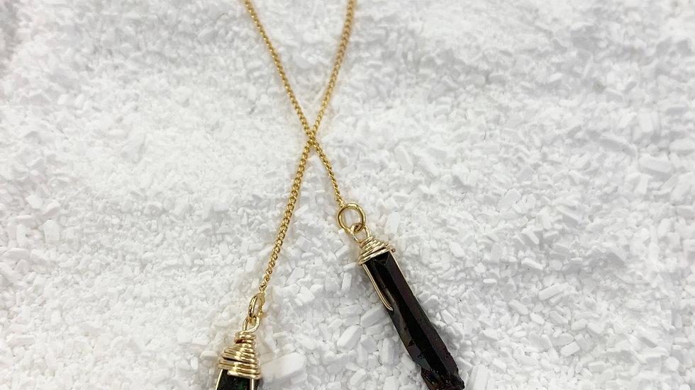 Crystal Point Treader Earrings Black Quartz