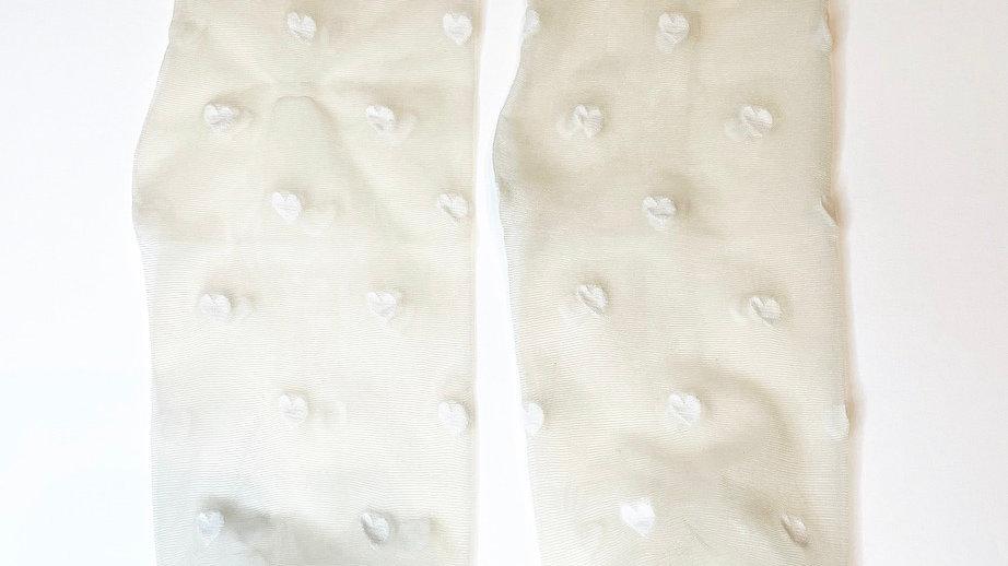 White Heart Transparent Socks