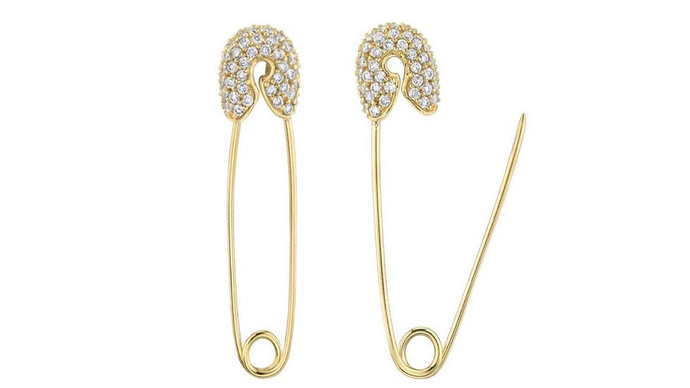 14k gold Cubic Zirconia Diamond Safety Pin Earrings.