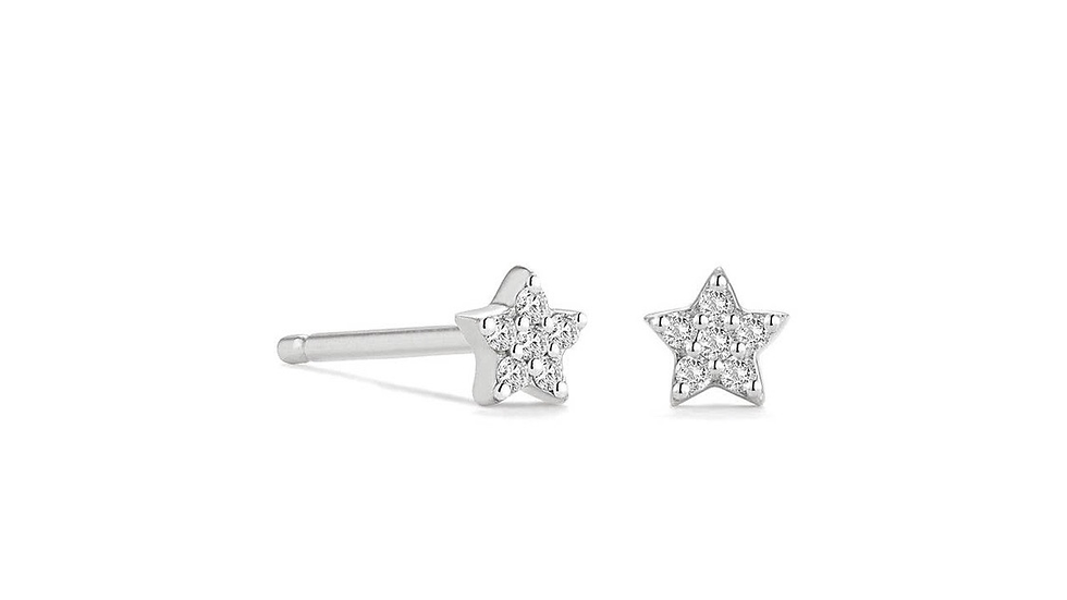 Really Tiny Sterling Silver Little Cubic Zirconia Star Stud Earrings