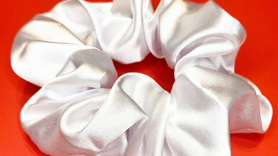 Oversized Satin Scrunchie (White)
