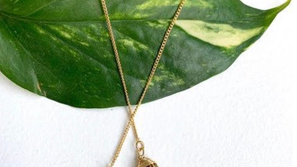 Raw Stone Threader Earring Gold Druzzy