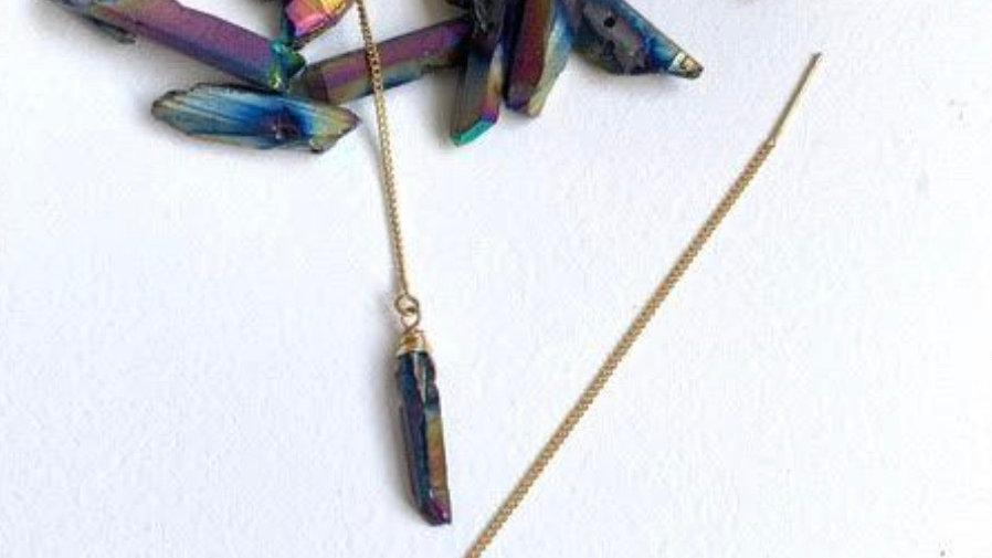 Crystal Point Threader Earrings Rainbow Quartz