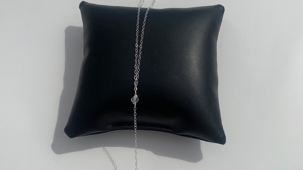 Raw Stone Y Necklace Sterling Silver, Clear Quartz.
