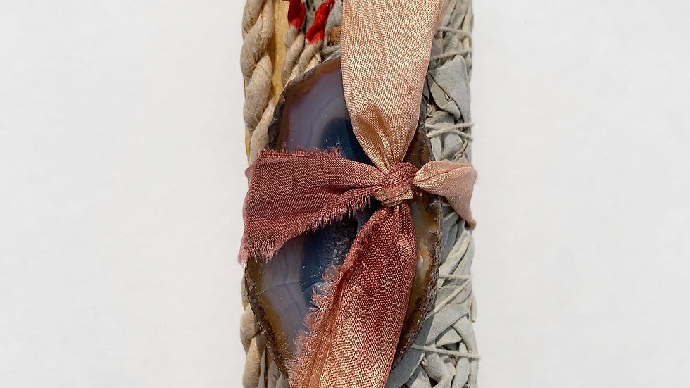 White sage and Agate smudge stick - Rose