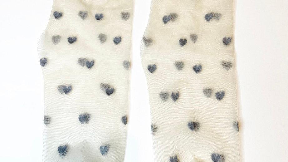 Grey Heart Transparent Socks