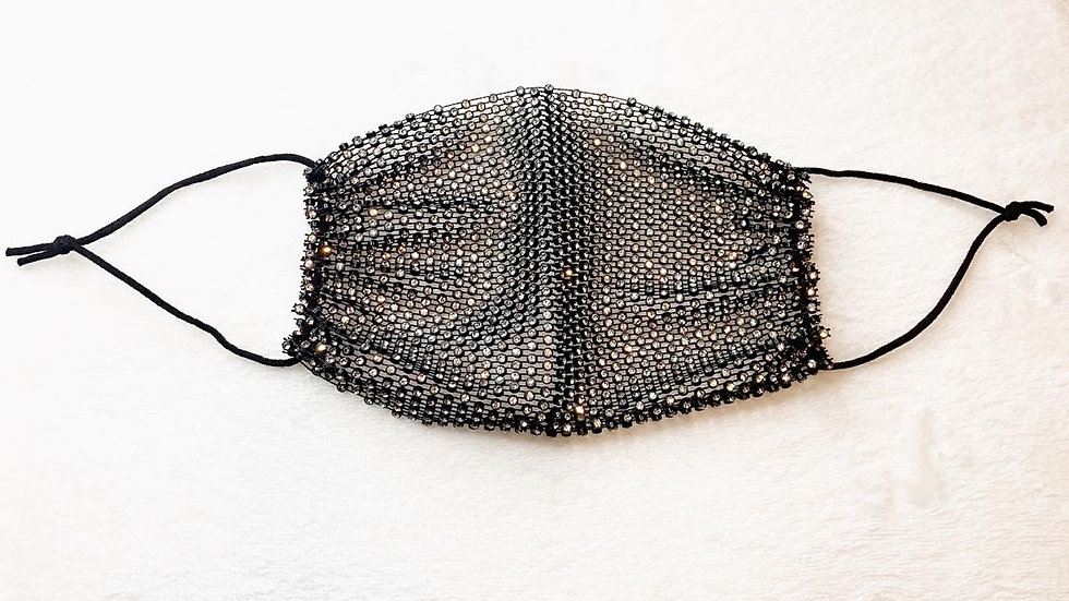 Black Rhinestone Fashionable Face Mask