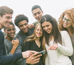 Multiethnic Group of Friends Looking at