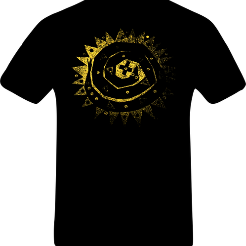 BUY NOW Black T-shirt with gold 'Circle and the Square' snake logo