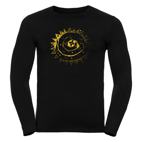 BUY NOW Black long-sleeve T-shirt with gold 'Circle and the Square' snake logo
