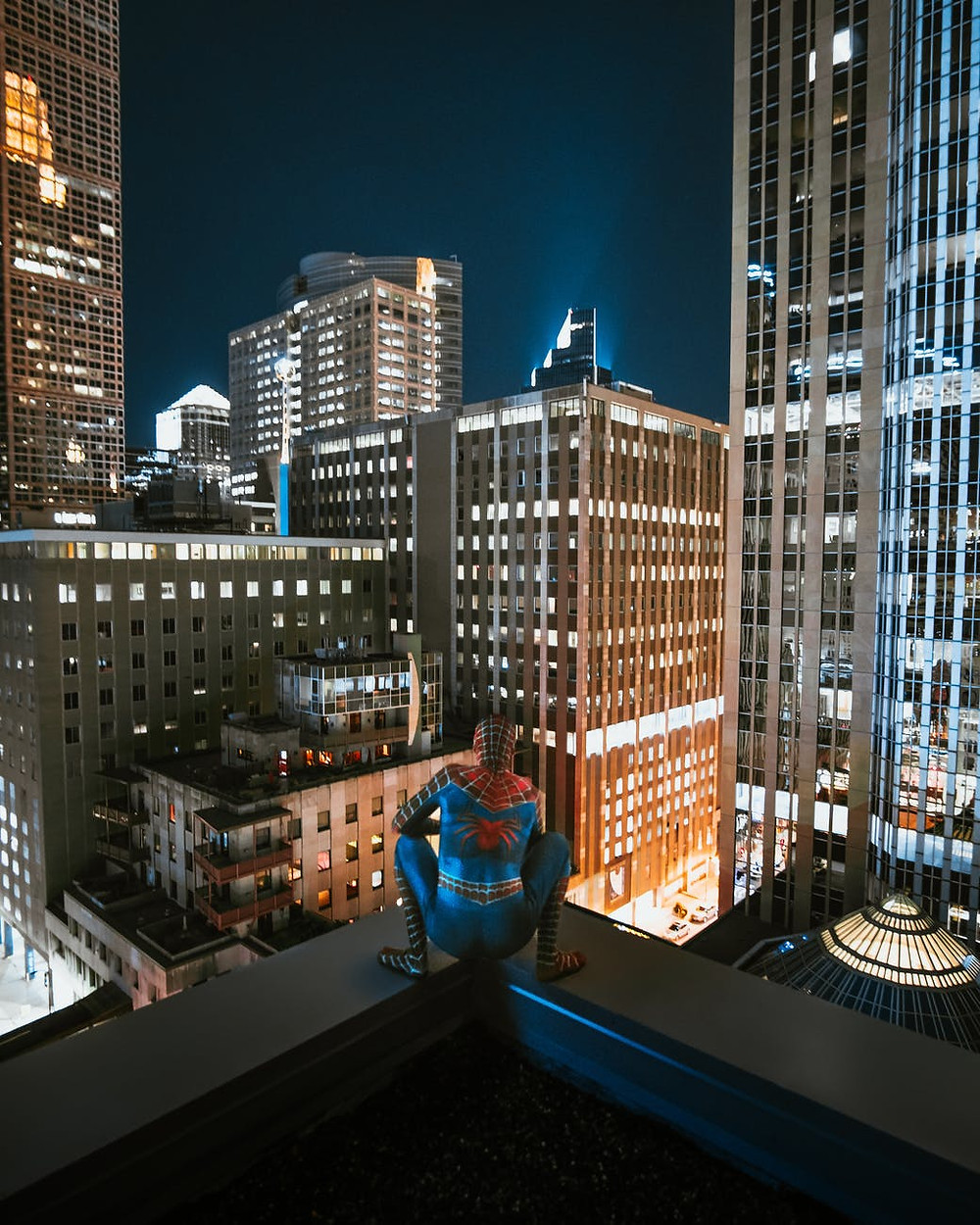Spider-Man overlooking the city