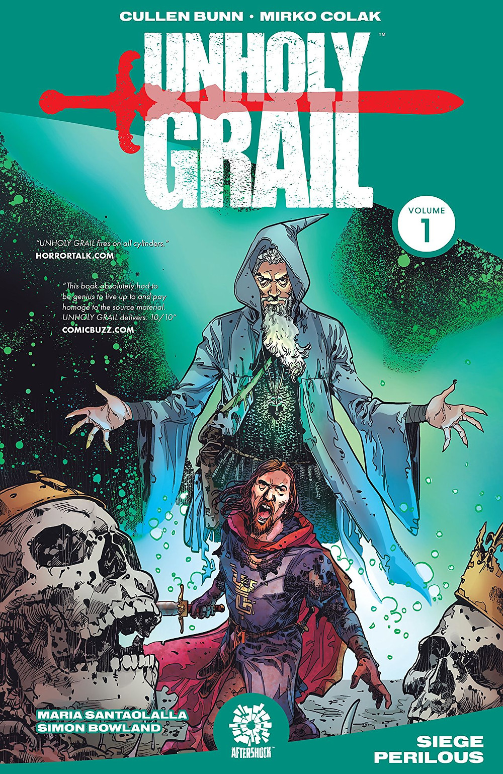 Unholy Grail, Vol. 1 (tpb), cover, AfterShock, Bunn/Colak
