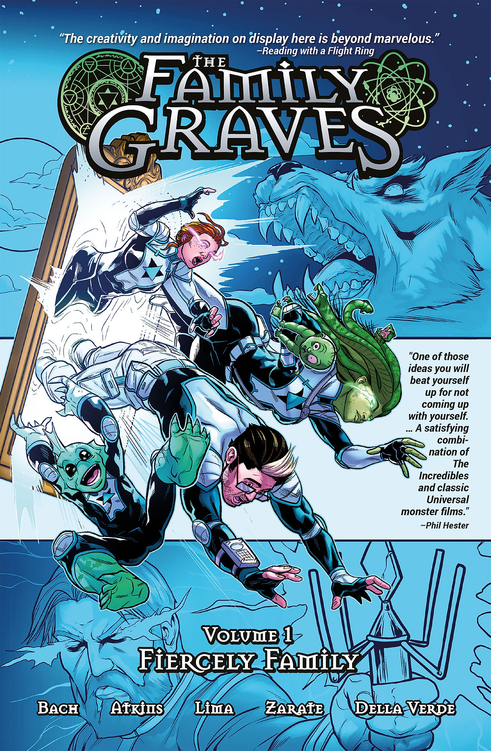 The Family Graves, Vol.1, cover by Brian Atkins & Juancho, Source Point Press, Bach/Atkins