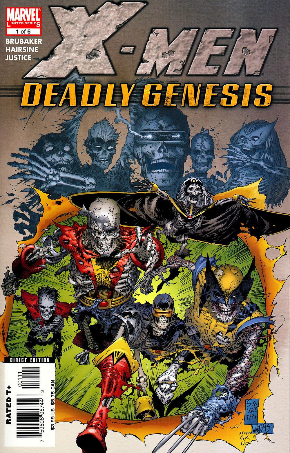 X-Men: Deadly Genesis, Vol. 1, cover, Marvel Comics, Brubaker/Hairsine/Justice