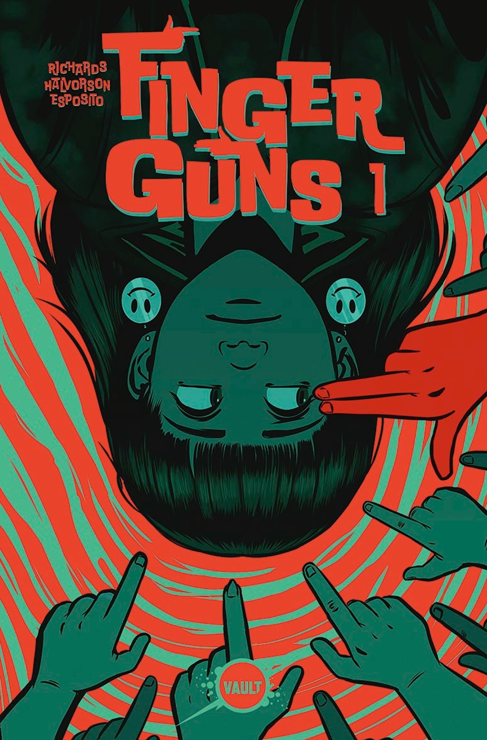 Finger Guns, issue #1, cover, Vault Comics, Val Halvorson and Rebecca Nalty