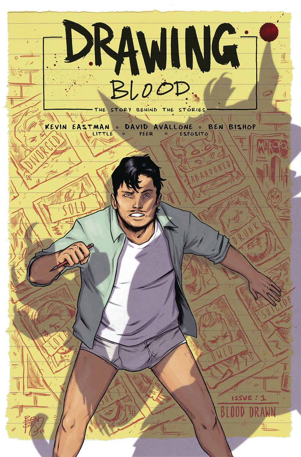 Drawing Blood, issue #1, cover, self-published, Eastman/Avallone/Bishop