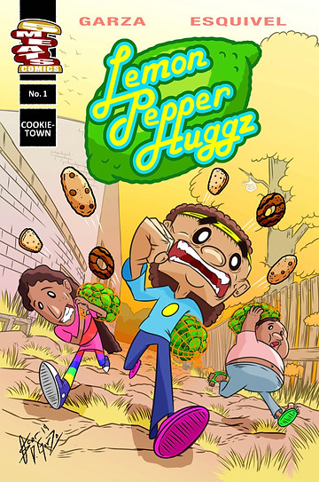 Lemon Pepper Huggz, Issue #1, cover, 5 Meats Comics, Garza/Esquivel