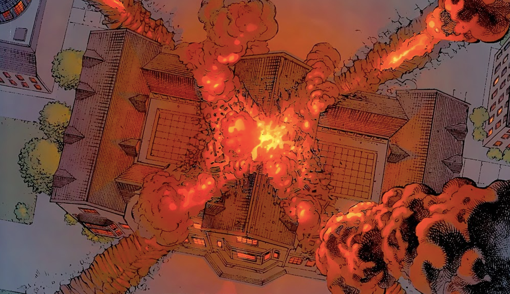The X-Mansion explodes in a fiery ball of X