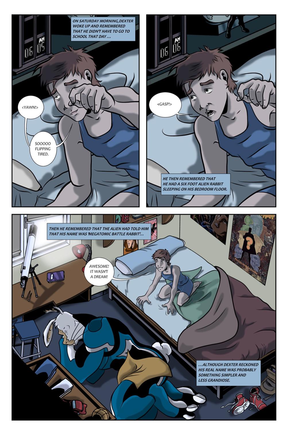 Megatomic Battle Rabbit, issue #2, page 2, Fair Spark Books, Perrins/Huertas