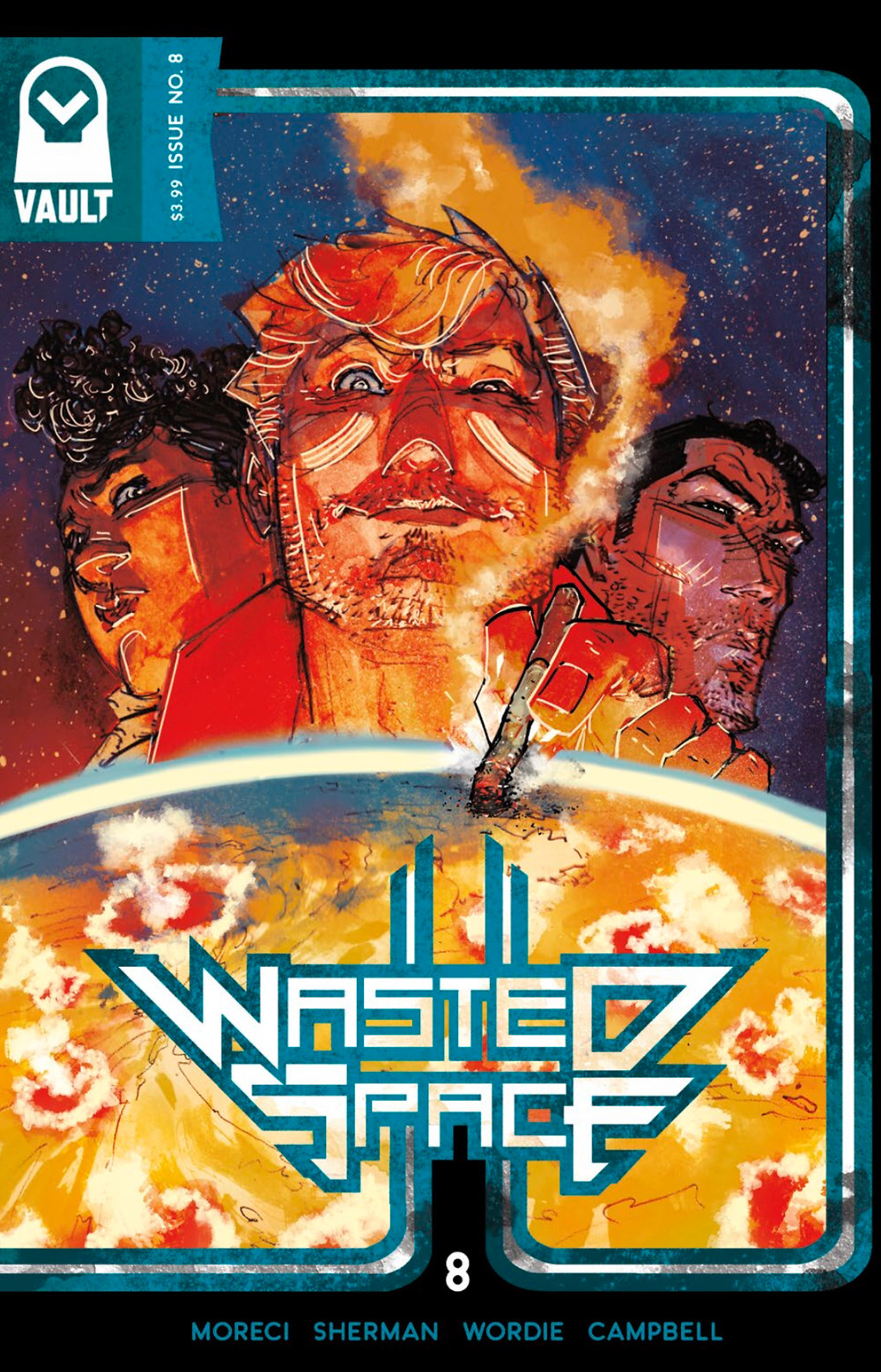 Wasted Space, issue #8, cover, Vault Comics, Moreci/Sherman