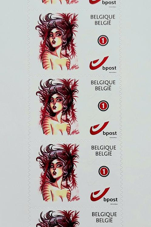 """5 Timbres """"Violet Frost"""" - Belgique - normalisé 1"""