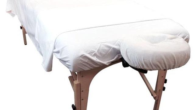 Ensemble draps coton/polyester (fanelette) blanc