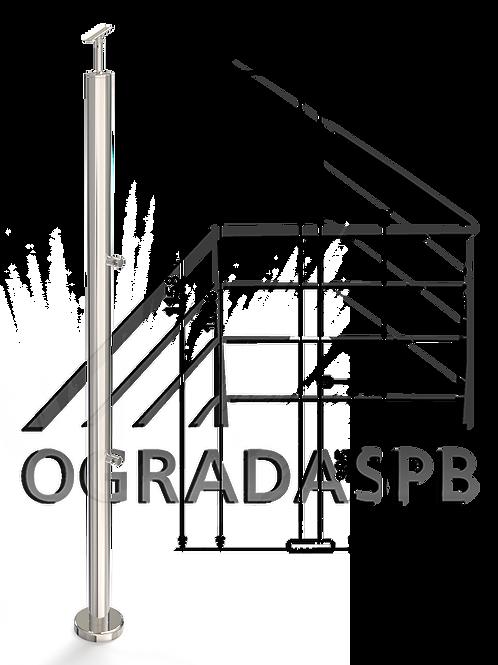 Стойка в сборе под заполнение 2 леерами d42,4мм AISI201 для огр-я высотой 1200мм