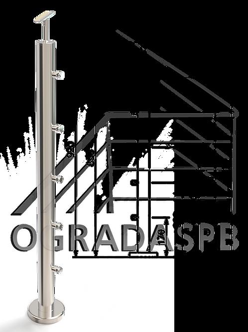 Стойка в сборе d50,8 мм под заполнение 5 леерами AISI304 зеркало