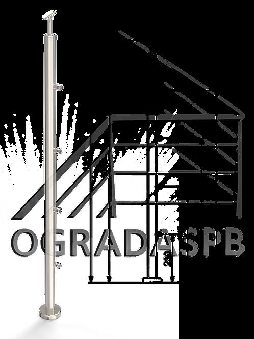 Стойка в сборе под заполнение 4 леерами d38мм AISI201 для огр-ия высотой 1200мм