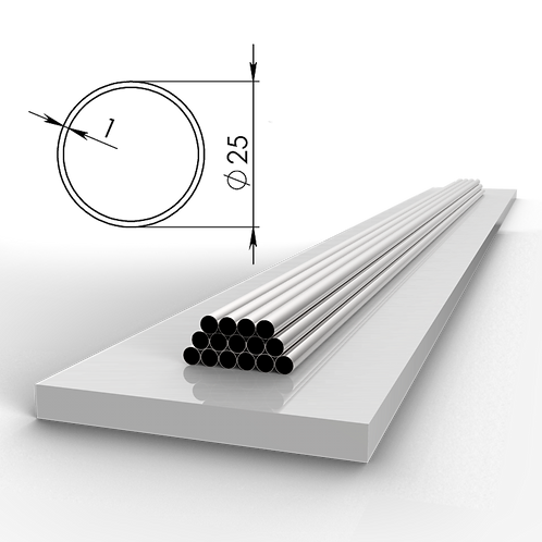 Труба 25х1 мм. Длина 6000 мм. Материал: AISI 304 зеркало