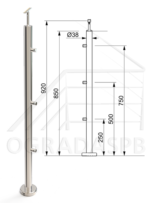 Стойка в сборе d38мм под заполнение 3 леерами AISI304 зеркало