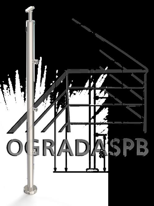 Стойка в сборе под заполнение 3 леерами d38мм AISI201 для огр-ия высотой 1200мм