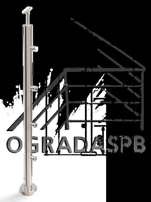 Стойка в сборе d38мм под заполнение 4 леерами AISI201 зеркало