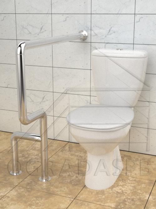 Поручень для туалета боковой настенно-напольный нержавеющая сталь AISI304