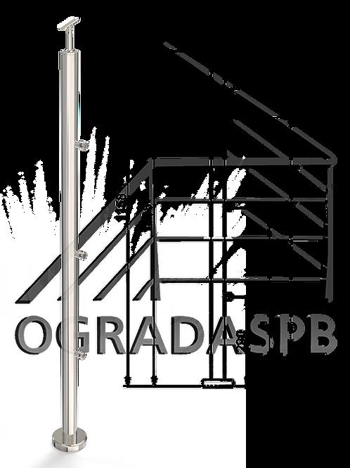 Стойка в сборе под заполнение 3 леерами d42,4мм AISI304 для огр-я высотой 1200мм