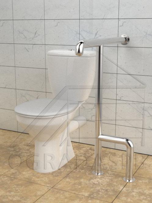 Поручень для туалета  боковой настенно-напольный AISI304