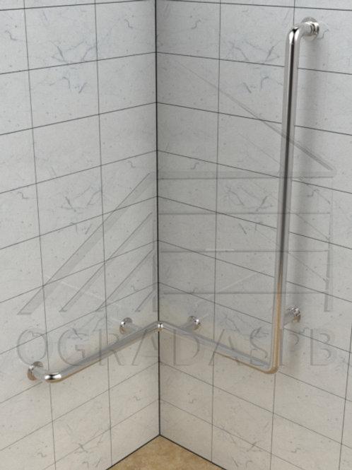 Поручень для ванны угловой на две стены из нержавеющей стали AISI304