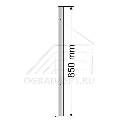 Стойка с креплением в пол под заполнение 3 леера d42.4мм Aisi304 зеркало