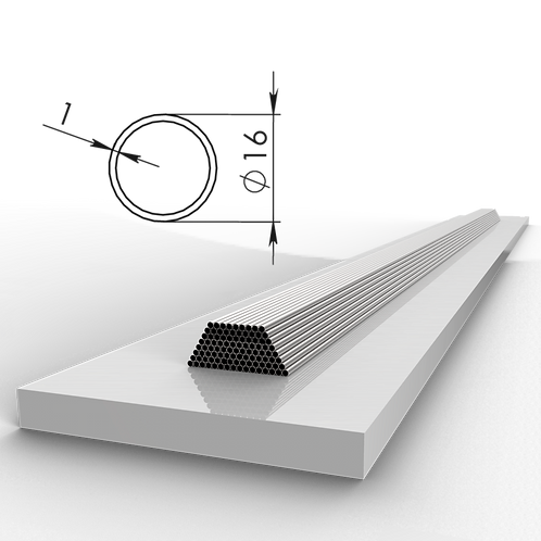 Труба 16х1 мм. Длина 6000 мм. Материал: AISI 201 зеркало