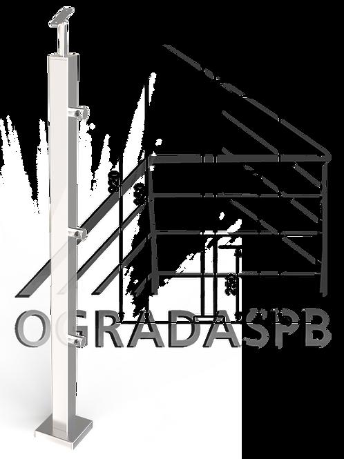 Стойка в сборе 40*40мм под заполнение тремя леерами AISI304