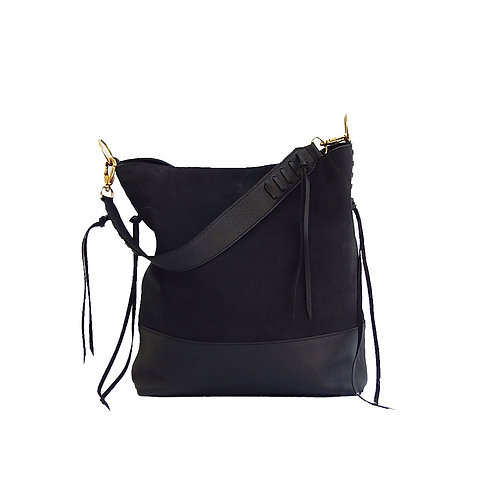 Maji Black Suede & Leather Shoulder Bag