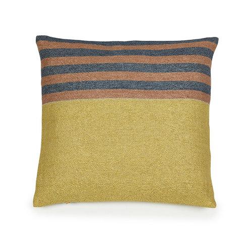 The Libeco Belgian Pillow Red Earth Stripe 50x50cm luxury interior belgian linen shop online karybu