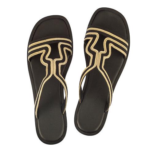 Zeus & Dione - Peitho Cutout Leather Sandals Black Gold luxury fashion spring summer resort collection 19 shop online Karybu